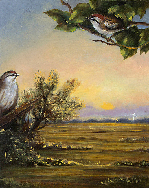 Gail Boyajian, Chipping Sparrow with Dawn Landscape